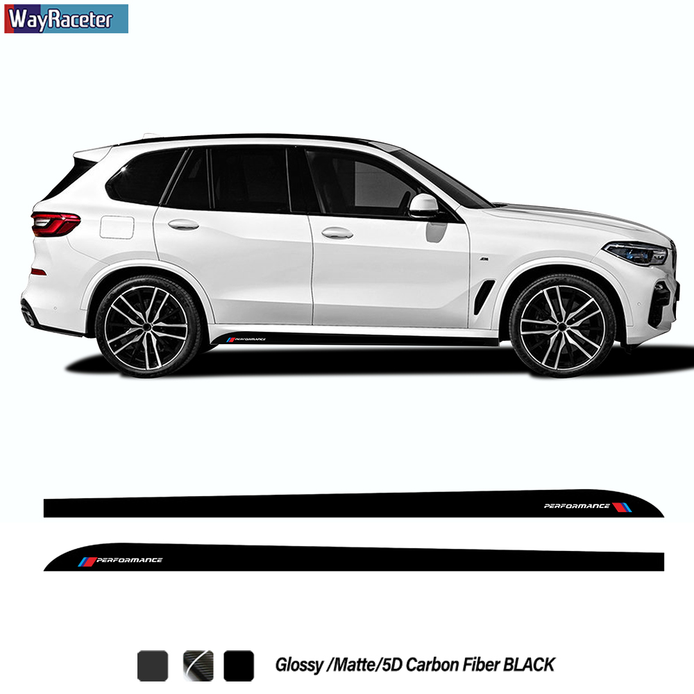 2 Pcs M Performance Styling Car Door Side Stripes Skirt Sticker 5D Carbon Fiber Vinyl Decal For BMW X5 F15 M F85 G05 Accessories