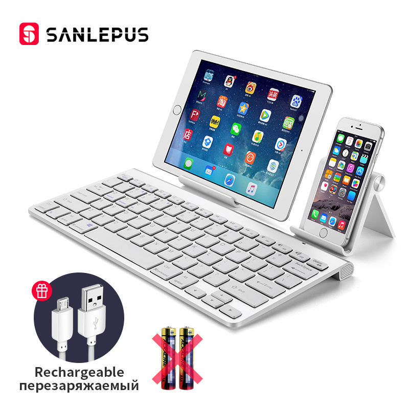 SANLEPUS Ultra-Slim Bluetooth מקלדת אלחוטי מחשב מקלדת מיני עבור טלפון Tablet מחשב נייד iPad iPhone סמסונג IOS אנדרואיד