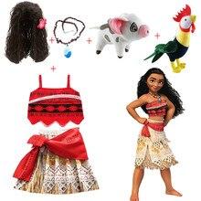 2021 nowa letnia sukienka Moana dziewczyny z naszyjnik świnia laska dzieci przygoda dzieci księżniczka Party przebranie na karnawał Vaiana strój kąpielowy