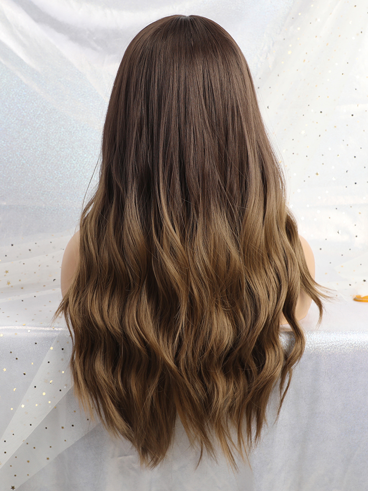 Wigs Synthetic Heat-Resistant Wavy Brown Glueless EASIHAIR Black Long Ombre Women To