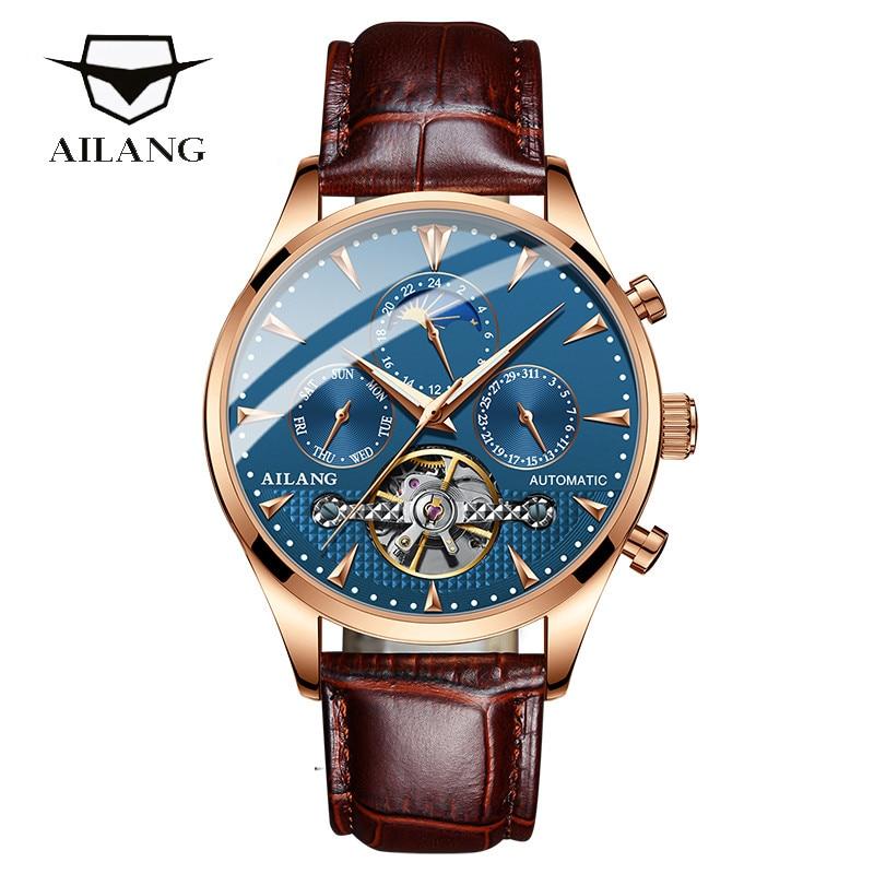 Reloj de pulsera para hombre, con correa de cuero, de marca de lujo Guanqin automático Reloj Mecánico Tourbillon Esqueleto reloj de deporte impermeable reloj automático reloj hombre reloj masculino