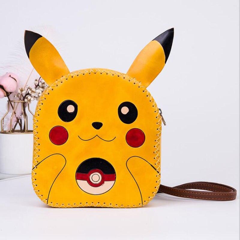 Femmes sacs Messenger épaule filles dessin animé Pikachu sac à dos enfants belle en cuir véritable sacs à bandoulière