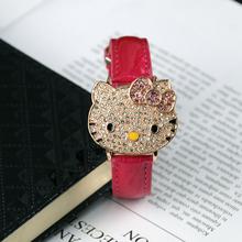 Kt cat studded flip zegarek dziewczęcy pasek kreskówka moda śliczny zegarek dziecięcy specjalizująca się w produkcji zegarków dziecięcych tanie tanio Aishy Nie wodoodporne Moda casual QUARTZ Stop Klamra Hardlex 22cm 40mm Skóra 112202 ROUND 18mm 12mm