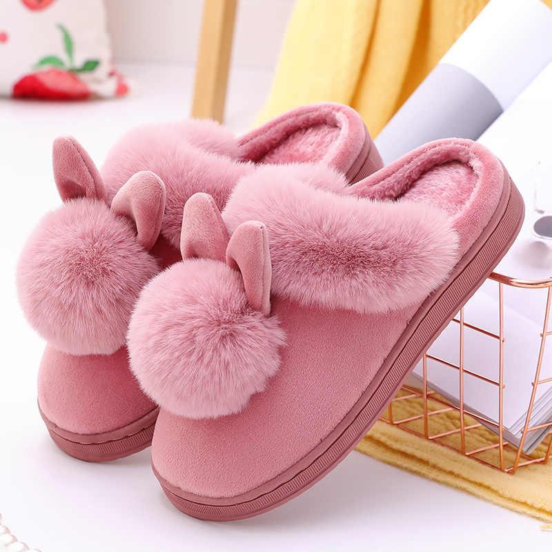 Sonbahar kış pamuk terlikler sevimli kabarık terlik kürk tavşan ev sıcak kalın alt kapalı pamuklu ayakkabılar bayan terlik