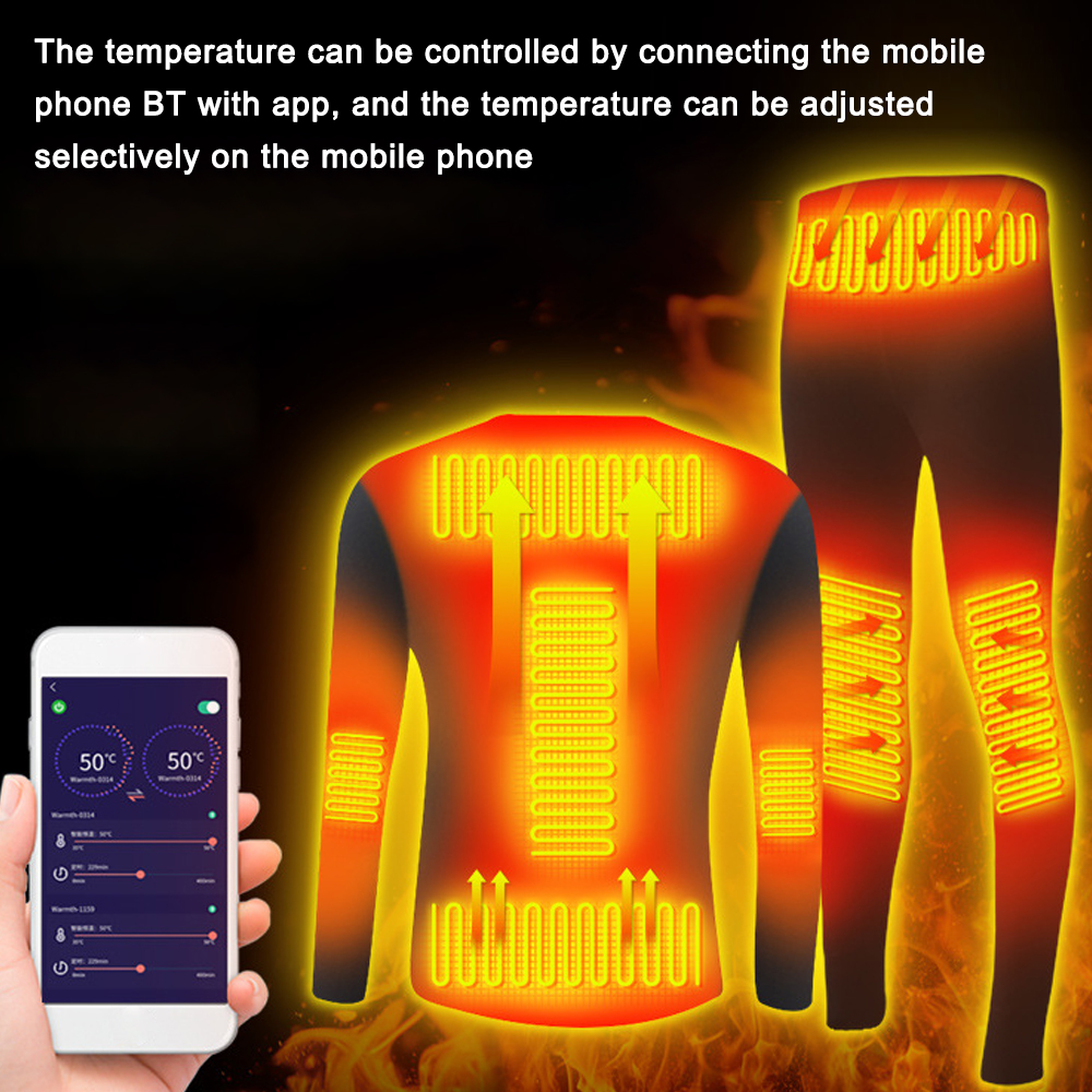 Winter Heating Underwear Set USB Battery Powered Heated Thermal Tops Pants Smart Phone Control Temperature Motorcycle Jacket
