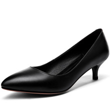 High Heels Women Genuine Cow Leather New Arrived Spring Autumn Ladies Heel Shoes C367 Woman White Black Pointed Toe Dress Pumps genuine leather comfort square heel pointed toe woman pumps fashion lace up dress high heel shoes woman black green