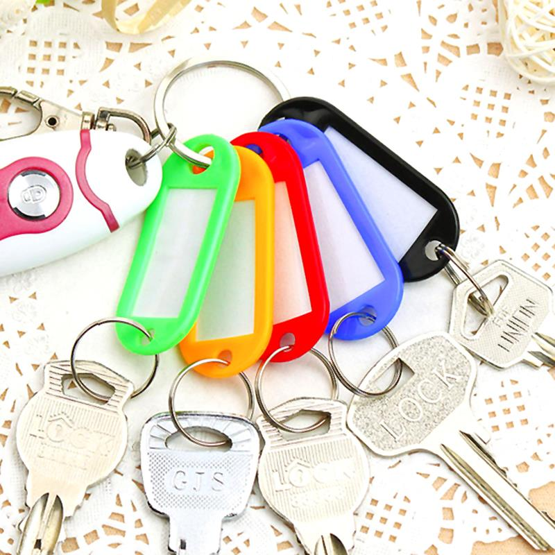 30 Pcs Colorful Plastic Key Card Keychain Luggage Card Key Tags Assorted Key Rings Id Tags Name Card Fob Label Key Accessories