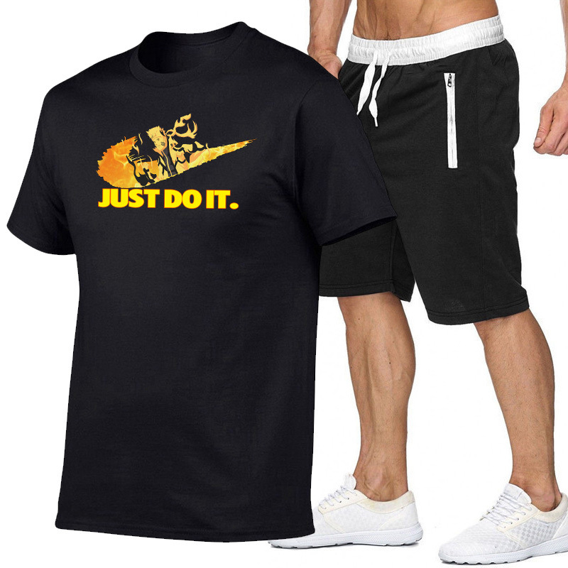 New Style Naruto T-shirt Athletic Pants Set Summer Just Printed Casual Men's Shorts Europe And America MEN'S Suit