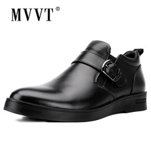 MVVT Genuine Leather Boots Men Winter Super Quality Business Wear-Resisting Snow