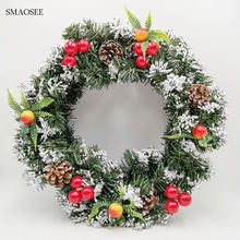 2020 Christmas Decorations For Home Rattan Festive Party Rattan DIY Wreath Christmas Decoration Garland XMAS Door Wall Ornament(China)