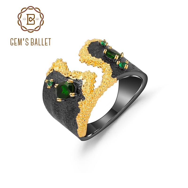 GEM'S BALLET 925 en argent Sterling fait à la main anneau naturel Chrome Diopside enroulement route chrysanthème bijoux floraux pour les femmes cadeau