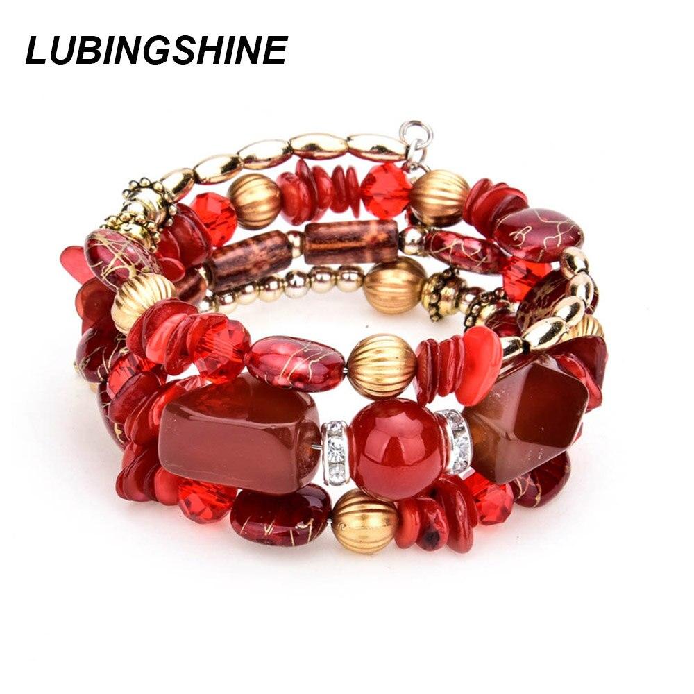 Женские многослойные браслеты LUBINGSHINE, винтажные браслеты в стиле бохо с бусинами из полимерного камня, этнические ювелирные изделия для под...