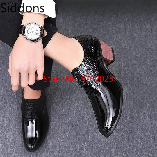 Men's High Heel Shoes Men's Formal Leather Wedding Crocodile Shoes Winter Ankle Boots Vintage Classic Male Casual Boot D149