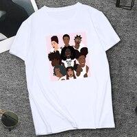 Новый дизайн, черная футболка с принтом для девочек, крутая уличная одежда, топы с короткими рукавами, Melanin, Клубная футболка для девочек в ст...