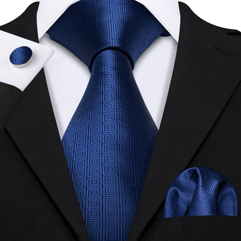 Navy Geometric Tie Silk Tie For Men Wedding Tie Party Necktie Handkerchief Cravat Barry.Wang Fashion Designer Tie Set LS-5224