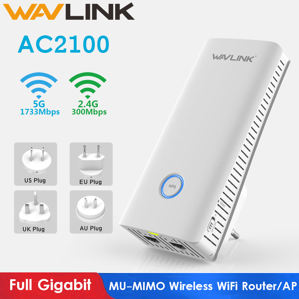 Wavlink Full Gigabit Wireless WiFi Router AC2100 MU-MIMO WIFI Repeater 2.4G+5Ghz Dual Band Wifi Range Extender Access Point New