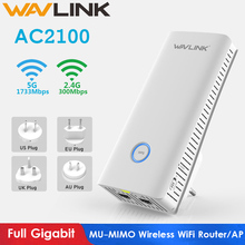 Wavlink Full Gigabit Wireless WiFi Router AC2100 MU-MIMO WIFI Repeater 2.4G+5Ghz Dual Band wifi Range extender Access Point New asus rt ac88u ac3100 dual band gigabit wifi 802 11ac mu mimo 2 4ghz 5ghz 8ports gigabit ethernet black red 3g 4g router