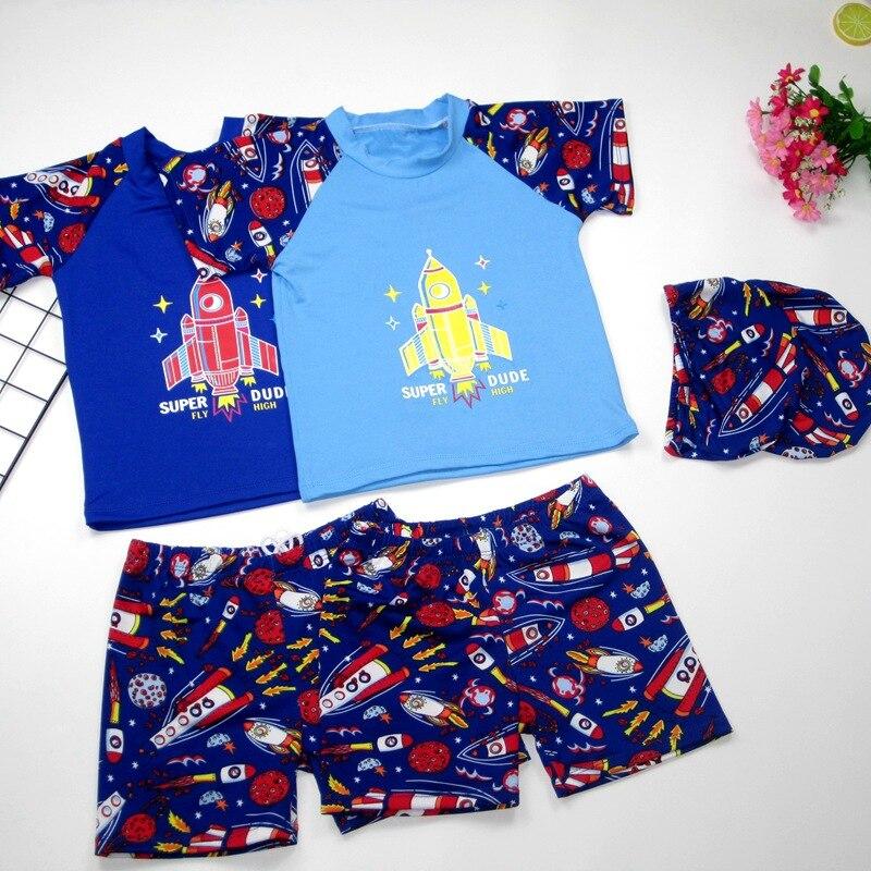 New Style KID'S Swimwear Men's Children Big Kid Hooded Cartoon Split Type Tour Bathing Suit Quick-Dry Three-piece Set Swimsuit F