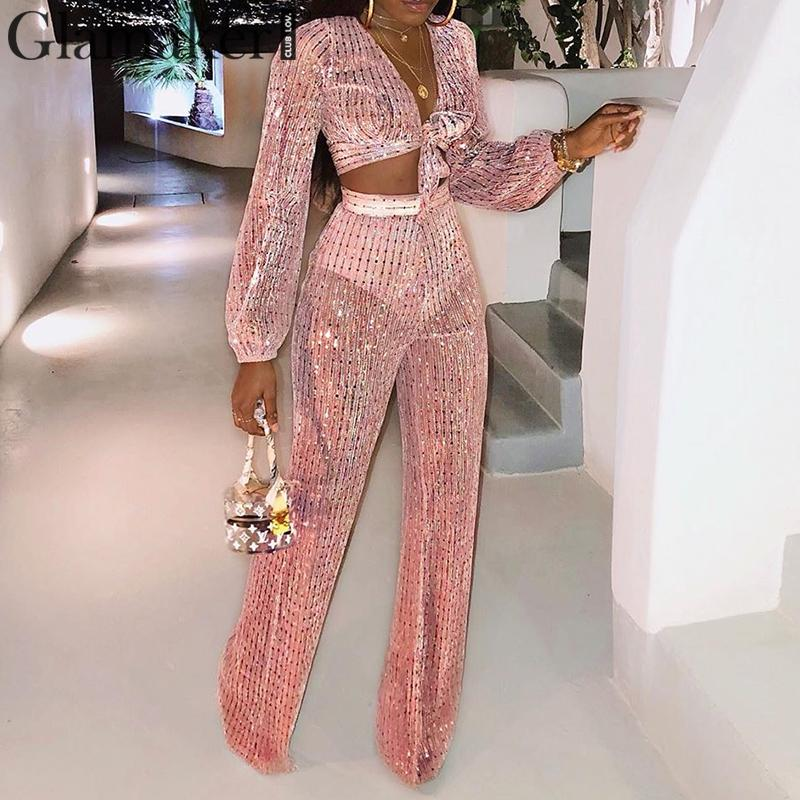 Glamaker 3 piece suit women   jumpsuit   romper Sequin sexy   jumpsuit   long wide leg party club Long sleeve bodysuit winter   jumpsuit