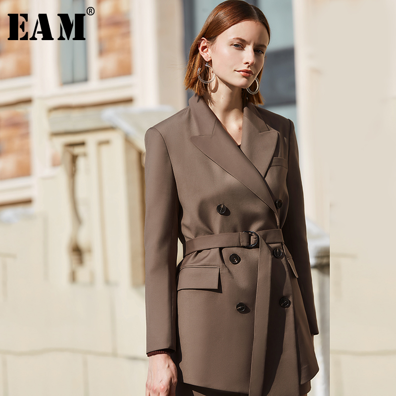 [EAM] Loose Fit Double Breasted Temperament Big Size Jacket New Lapel Long Sleeve Women Coat Fashion Tide Spring 2020 1S073