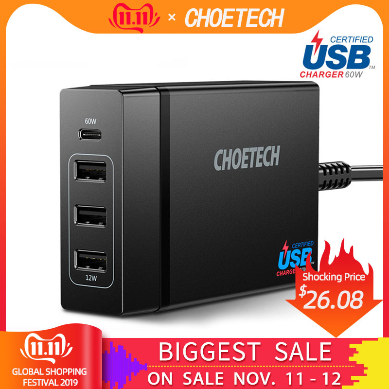 CHOETECH 72W 4 Port USB Type C Desktop Charger Station with Power Delivery For iPhone X 8 Plus MacBook Pro Mobile Phone Charger-in Mobile Phone Chargers from Cellphones & Telecommunications
