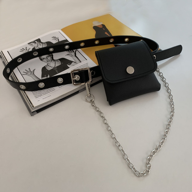Women Fashion Waist Pack PU Fanny Pack Simple Women's Gift Belt Bag Phone Chain Bags For Lady Casual Pack Female Purse Black 4