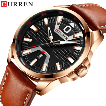 CURREN 8379 New Men Watch Top Brand Leather Waterproof Sport Date Quartz Watches For Mens With Box