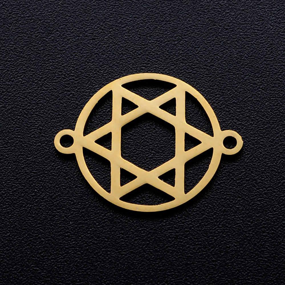 5 pçs/lote diy estrela de david charme de aço inoxidável pingente atacado golden sun hamsa mão jóias pulseira conector encantos