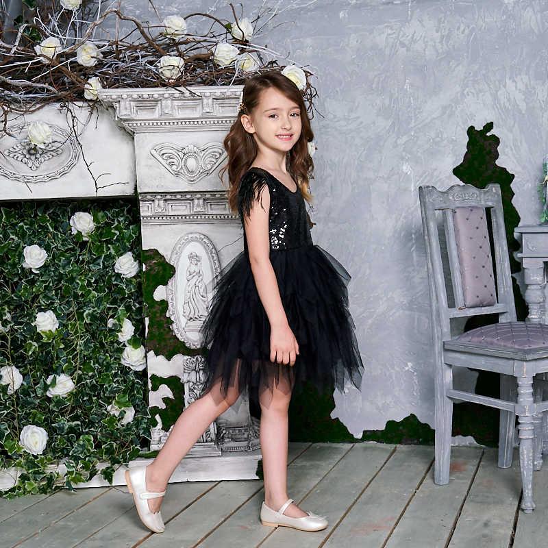 נוצת פאייטים שכבות בנות מיני שמלת פלאפי טול המפלגה ילדים נסיכת שמלות בנות תינוק בגדי 2-10Y E13846