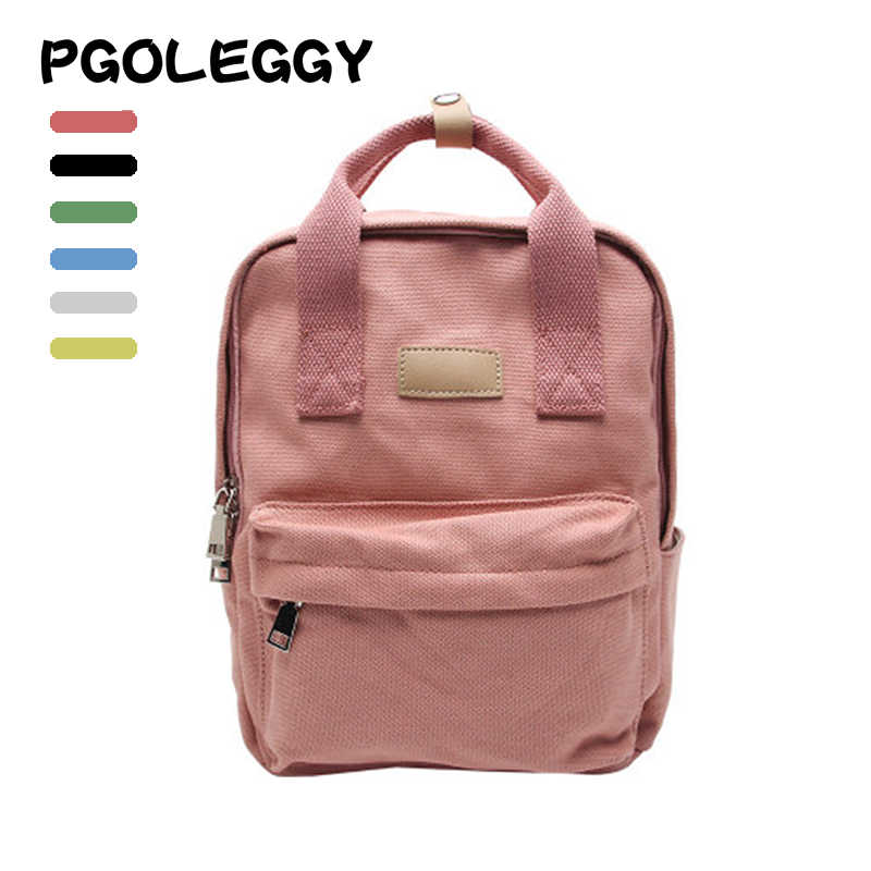PGOLEGGY women backpack Canvas school bags teenager girls Fashion bagpack for women 2019 New back travel backpack female