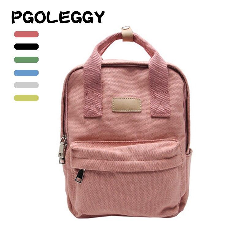 PGOLEGGY Women Backpack Canvas School Bags Teenager Girls Fashion Bagpack For Women 2019 New Back Travel Backpack Female