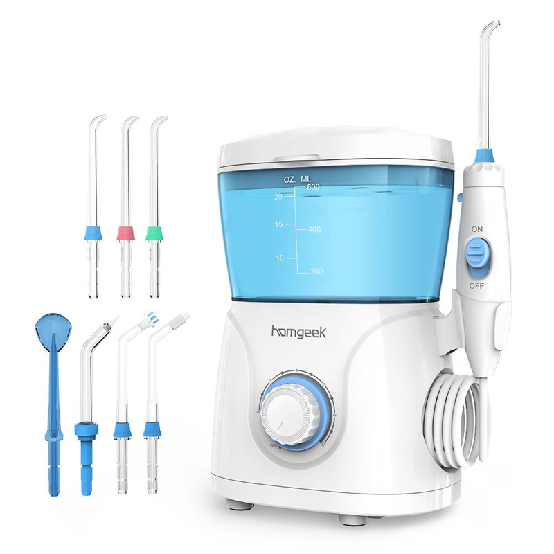 Homgeek Water Flosser irrigador Oral Irrigator Teeth Cleaner Pick Spa Tooth Care Clean With 7 Tips For Family-in Oral Irrigators from Home Appliances    1