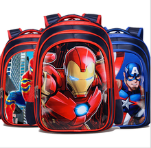 2020 3D Cartoon Iron Man Spiderman Captain America Boy Girl Children Kindergarten School bag Teenager Schoolbags Student(China)