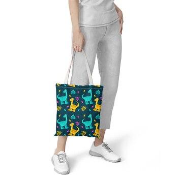 Foldable Shopping Bag Cartoon Dragon Printed Tote Bag For Women Casual Tote Ladies Shoulder Bag Tote Purse Outdoor Beach Tote tropical leaves tote bag
