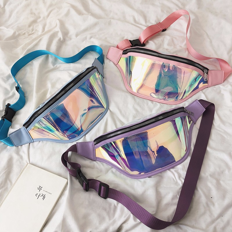 Foreign Trade 2019 New Style Summer Sports Waist Pack Mobile Phone Waterproof Bag Transparent Laser Chest Pack Shoulder Bag Wome