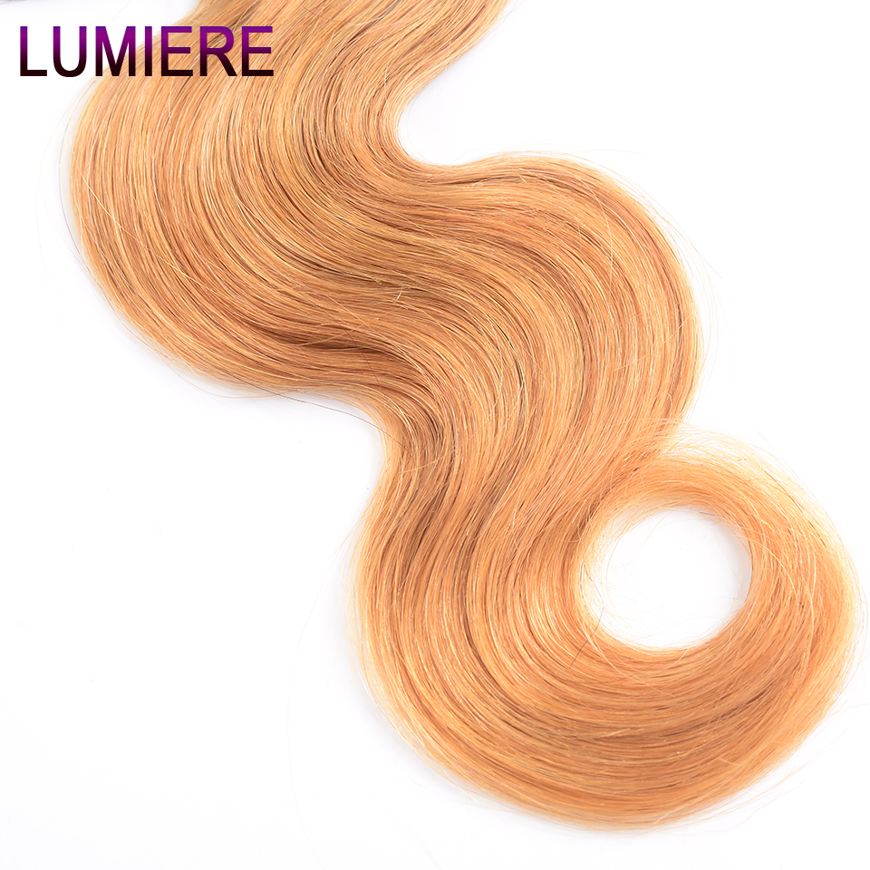 Image 5 - Lumiere Hair Ombre Brazilian Hair Weave Bundles Body Wave 3 Tone T1B/4/27 Non Remy Ombre Human Hair Bundles Can buy 3/4 Bundles-in Hair Weaves from Hair Extensions & Wigs