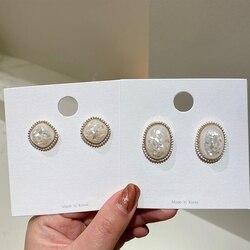 MENGJIQIAO 2021 Japan Korean White Shell Resin Sqaure Oval Stud Earrings For Women Girls Fashion Vintage Oorbellen Jewelry