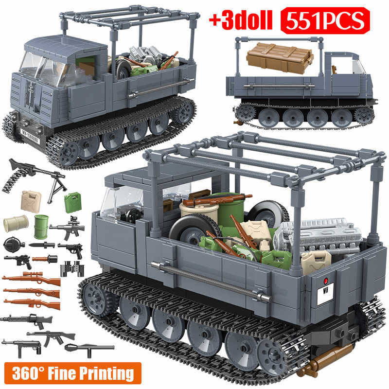 551PCS WW2 Military German Building Blocks Legoing RS0/03 Half Track Tractor Tank Soldier Figures Bricks Sets Toys for Boys