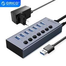 ORICO-concentrador de red con alimentación USB 3,0, 7/10/13/16 puertos, interruptores de encendido/apagado, adaptador de corriente de 12V, compatible con divisor de carga BC1.2