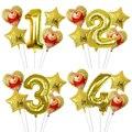 5 шт. с Винни-пухом для принцессы медведь воздушный шарик из фольги в форме счастливой От 1 до 6 лет на день рождения, декоративные шары из пух ...
