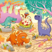 Yeele Cartoon Volcano Dinosaur Backdrop Baby Shower Children Boy Kids Birthday Party Photography Background For Photo Studio