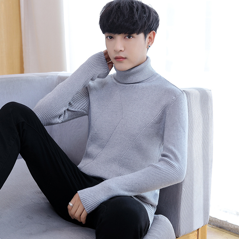 Men Sweaters Winter White Black Grey Navy Blue Wine Red Long Sleeve Turtleneck Pullovers Casual Solid New Fashion Mens Sweater