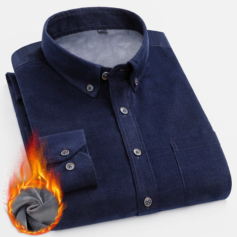 Winter Wear Men Navy Blue Corduroy Shirt Large Size Thick Fluffy Warm Cotton Casual Shirt Male Long Sleeve Boys Shirt Men Top