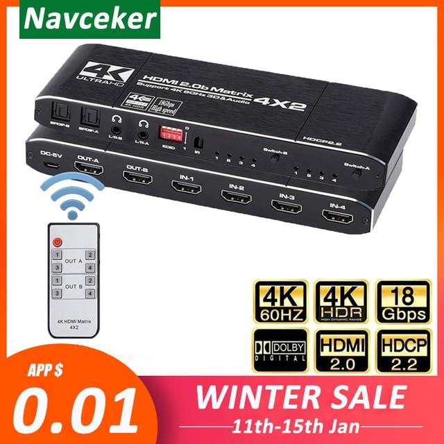2020 4K @ 60Hz HDMI Matrix 4x2 Schalter Splitter Unterstützung HDCP 2,2 IR Fernbedienung HDMI schalter 4x2 Spdif 4K HDMI 4x2 Matrix Schalter