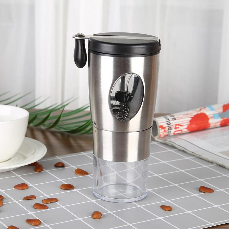 Manual Coffee Grinder,Grinding Ceramic Conical Mill,Stainless Steel Foldable Handle Coffee Bean Grinder With Brush And Spoon For