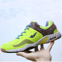 New Men Professional Badminton Shoes Light Weight Tennis Sneakers Men Womens Green Blue Anti Slip Size 36-45 Badminton Sneakers maultby men s saga td badminton shoes training breathable anti slippery light sport badminton shoes