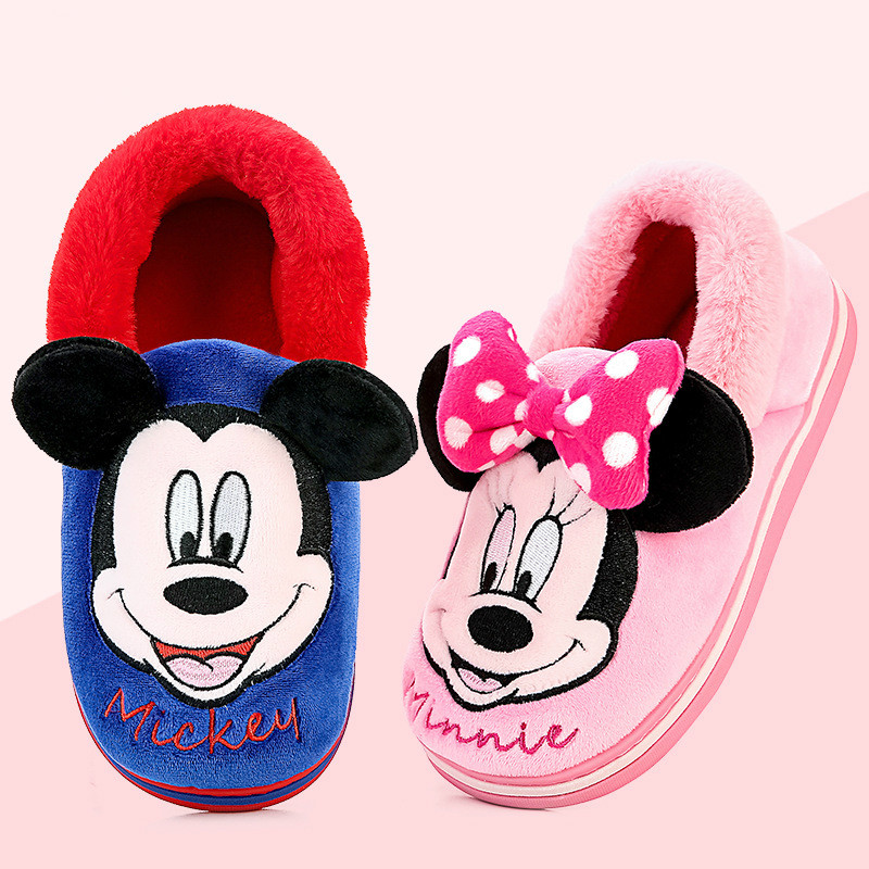 New Winter Mickey Kids Slippers For Toddler Boys Indoor Shoes Baby Girl Fur Slides Flip Flop Warm House Minnie Children Slipper