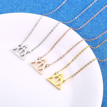 Women Necklace Stainless Steel Gold Chain Jewelry Accessories Triangle Inspired Deathly Hallows Movie Potter Pendant Necklaces чехол для iphone 6 глянцевый printio deathly hallows