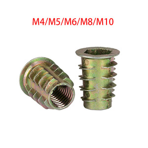 10/20/30/50Pcs M4 M5 M6 M8 Zinc Alloy Thread For Wood Insert Nut Flanged Hex Drive Head Furniture Nuts(China)