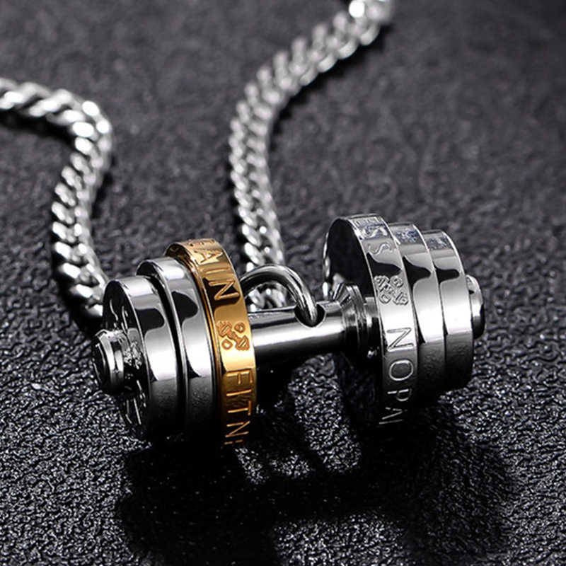 Oulai777 barbell fitness pendants Dumbbell male necklace stainless steel Couple sports male chain women accessories with pendant